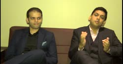 "Hem Securities ""s Prateek Jain (L) & Gaurav Jain (R) speaking on Listing ceremony of V. R Films"